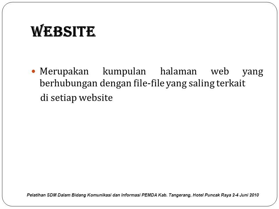 Website Merupakan kumpulan halaman web yang berhubungan dengan file-file yang saling terkait. di setiap website.