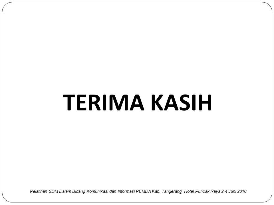 TERIMA KASIH Pelatihan SDM Dalam Bidang Komunikasi dan Informasi PEMDA Kab.