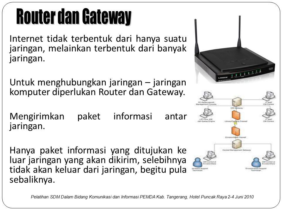 Router dan Gateway Internet tidak terbentuk dari hanya suatu jaringan, melainkan terbentuk dari banyak jaringan.