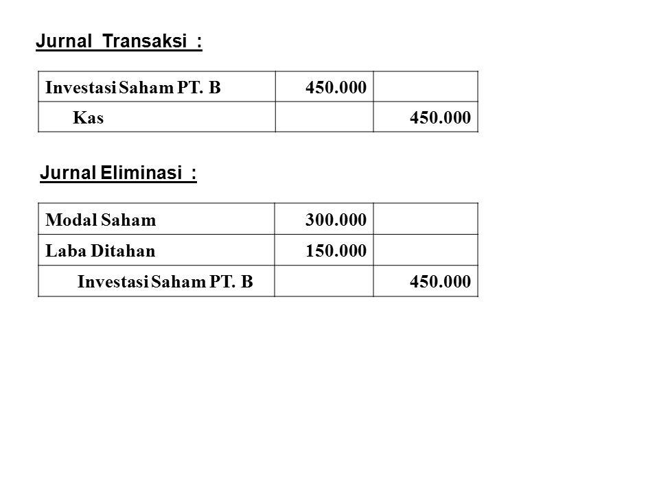 Jurnal Transaksi : Investasi Saham PT. B. 450.000. Kas. Jurnal Eliminasi : Modal Saham. 300.000.