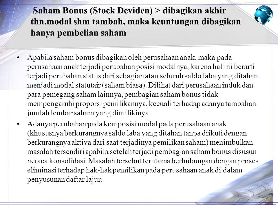 Saham Bonus (Stock Deviden) > dibagikan akhir thn