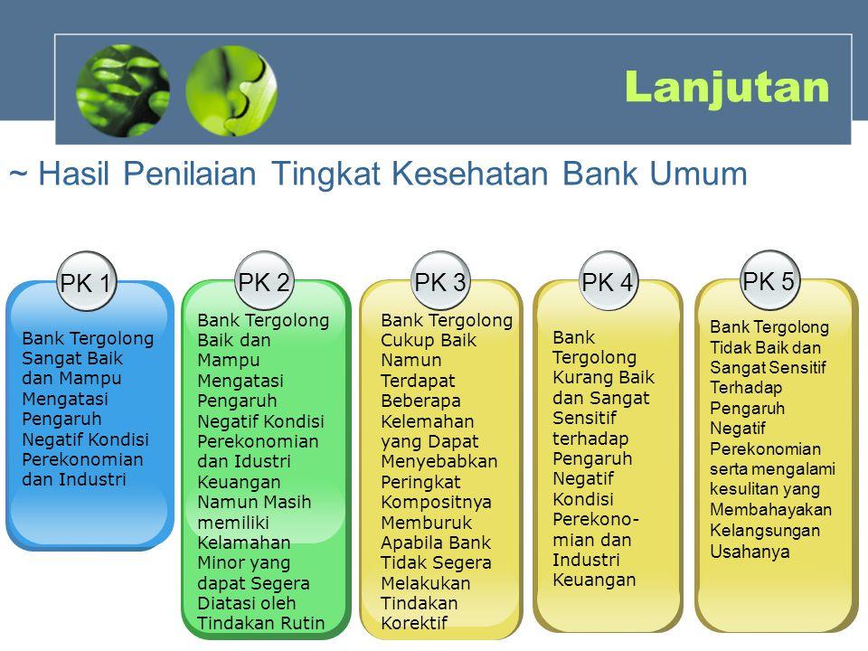 Lanjutan ~ Hasil Penilaian Tingkat Kesehatan Bank Umum PK 1 PK 2 PK 3