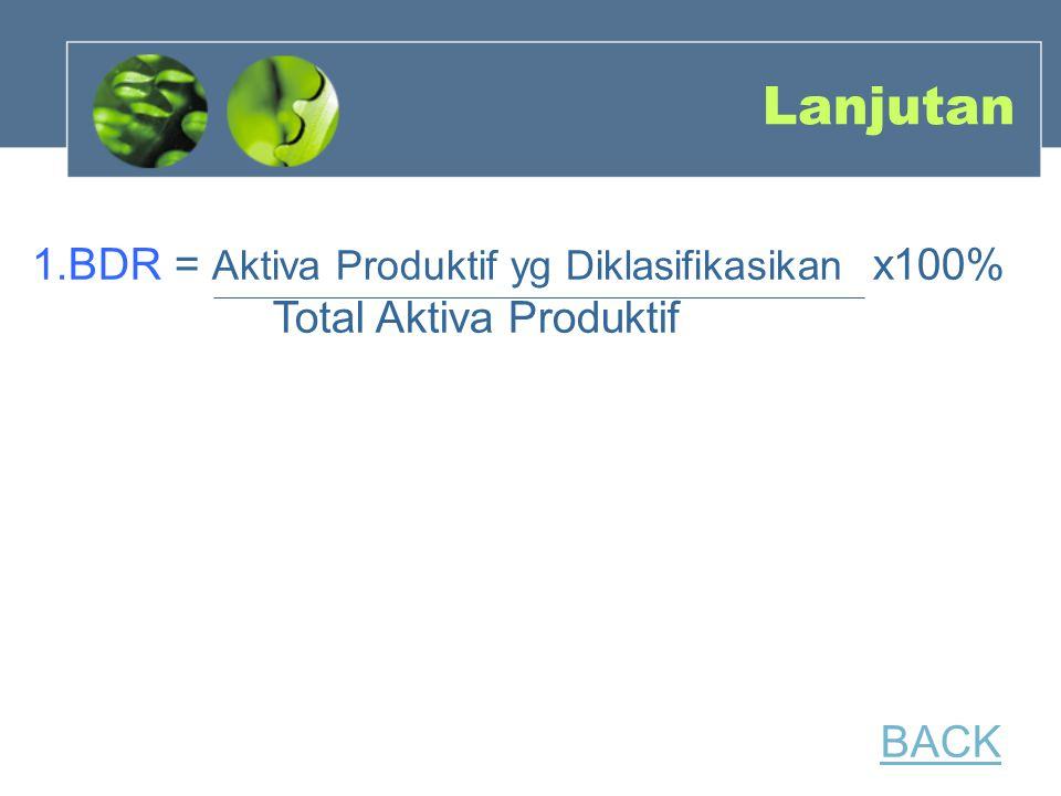Lanjutan 1.BDR = Aktiva Produktif yg Diklasifikasikan x100% Total Aktiva Produktif.
