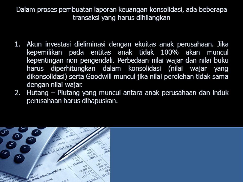 Dalam proses pembuatan laporan keuangan konsolidasi, ada beberapa transaksi yang harus dihilangkan