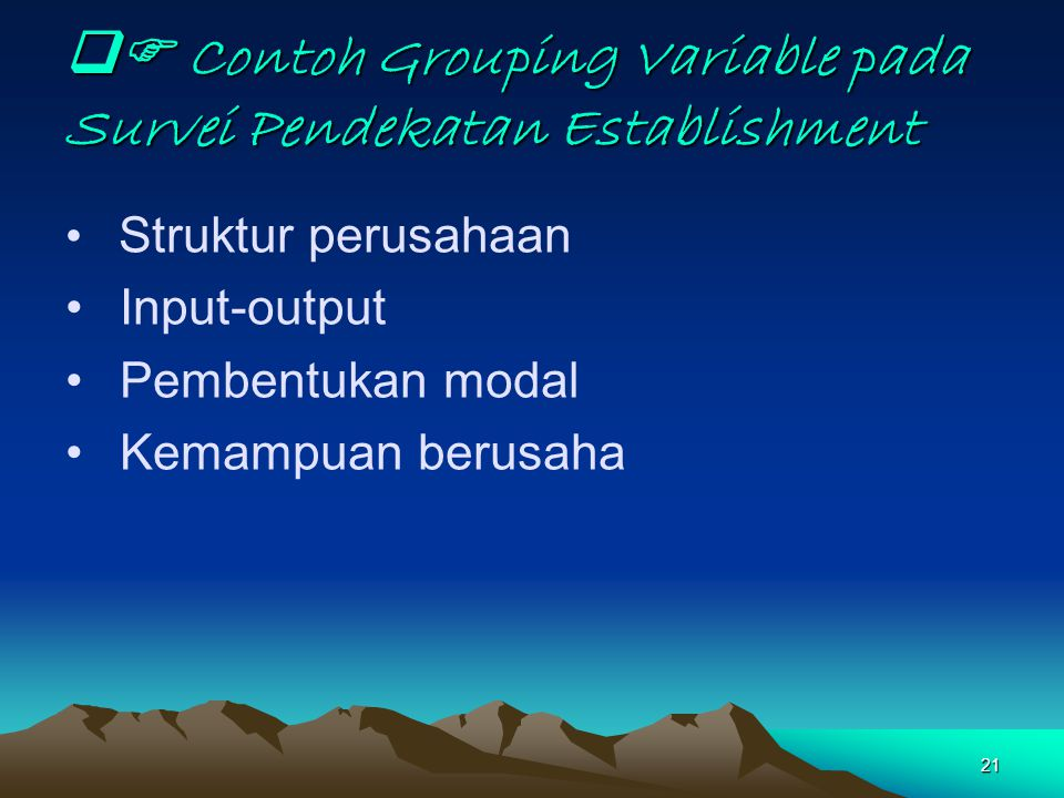  Contoh Grouping Variable pada Survei Pendekatan Establishment