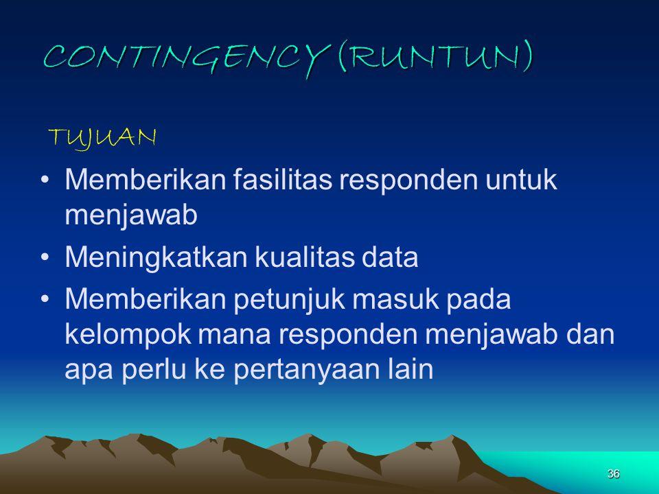 CONTINGENCY (RUNTUN) TUJUAN