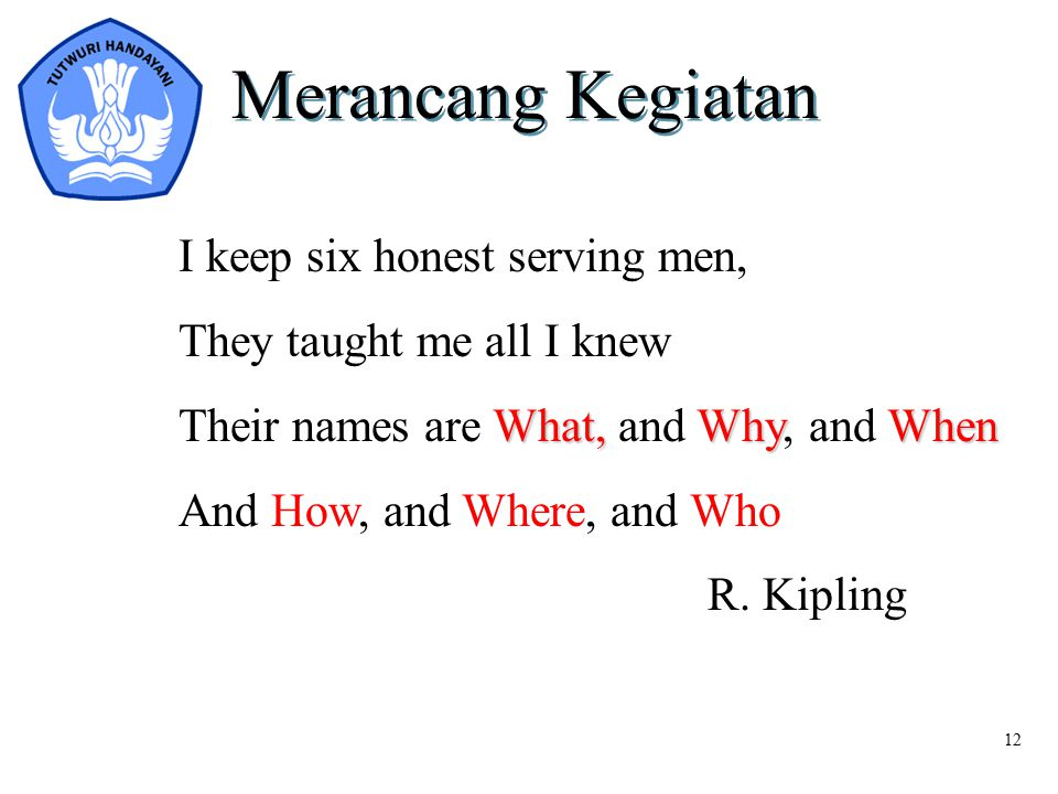 Merancang Kegiatan I keep six honest serving men,