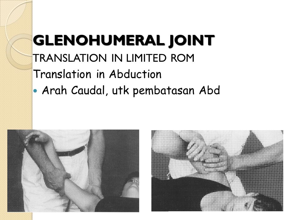 GLENOHUMERAL JOINT TRANSLATION IN LIMITED ROM Translation in Abduction