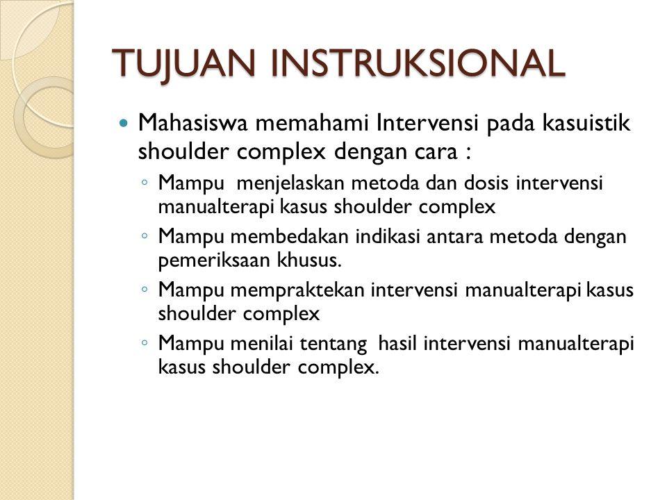 TUJUAN INSTRUKSIONAL Mahasiswa memahami Intervensi pada kasuistik shoulder complex dengan cara :