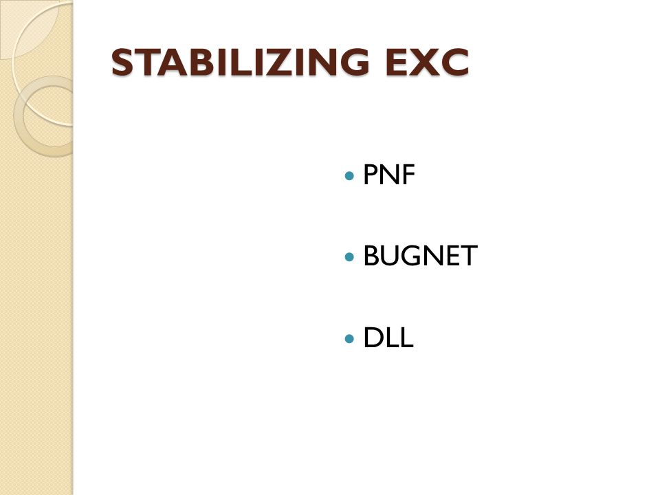 STABILIZING EXC PNF BUGNET DLL