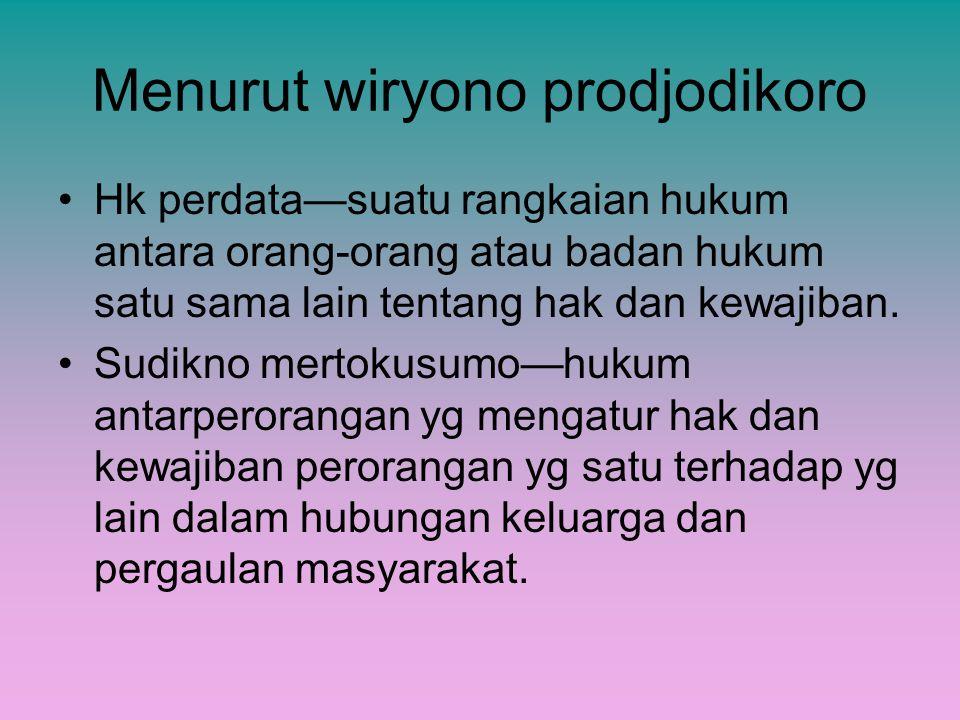 Menurut wiryono prodjodikoro