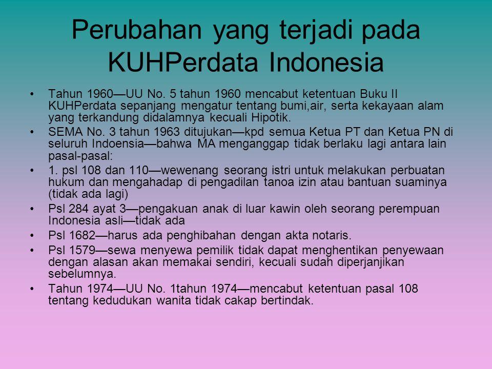 Perubahan yang terjadi pada KUHPerdata Indonesia