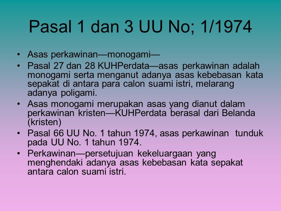 Pasal 1 dan 3 UU No; 1/1974 Asas perkawinan—monogami—