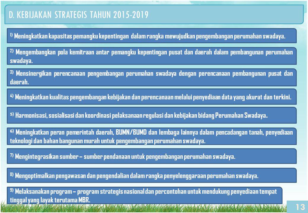 D. KEBIJAKAN STRATEGIS TAHUN 2015-2019