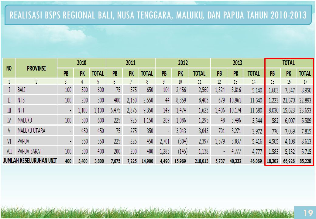REALISASI BSPS REGIONAL BALI, NUSA TENGGARA, MALUKU, DAN PAPUA TAHUN 2010-2013