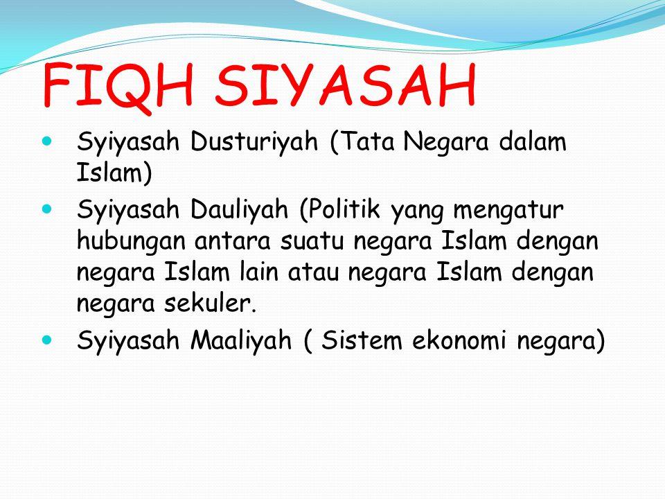 FIQH SIYASAH Syiyasah Dusturiyah (Tata Negara dalam Islam)
