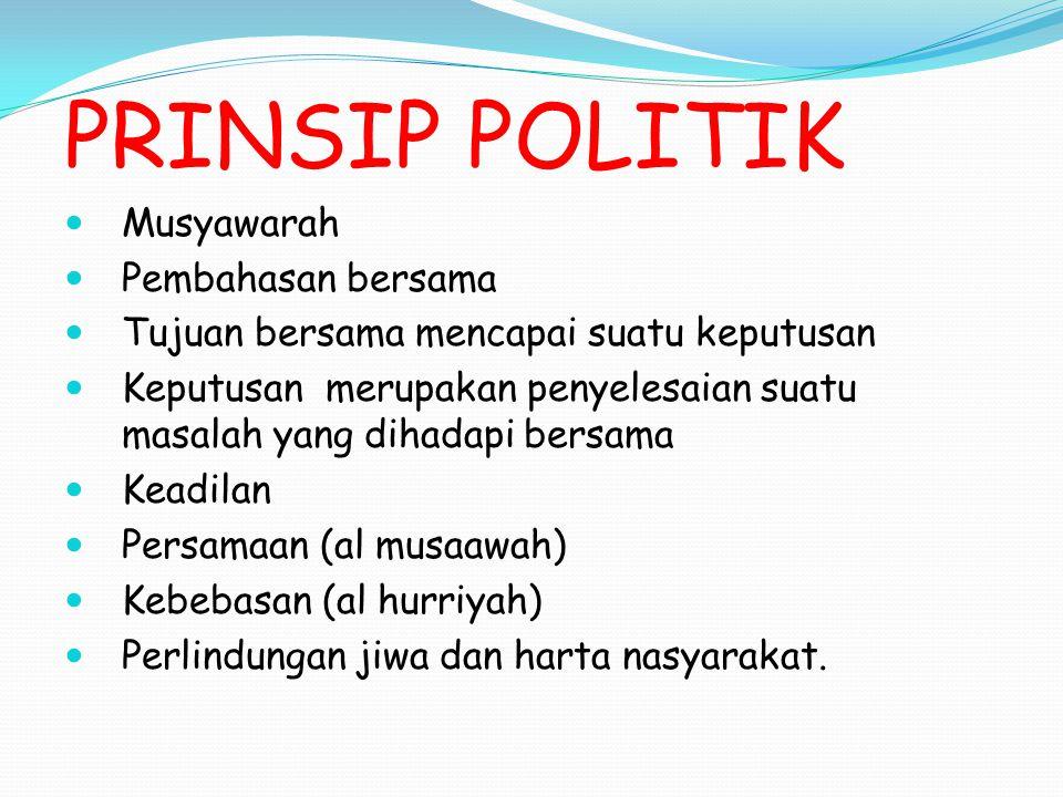 PRINSIP POLITIK Musyawarah Pembahasan bersama