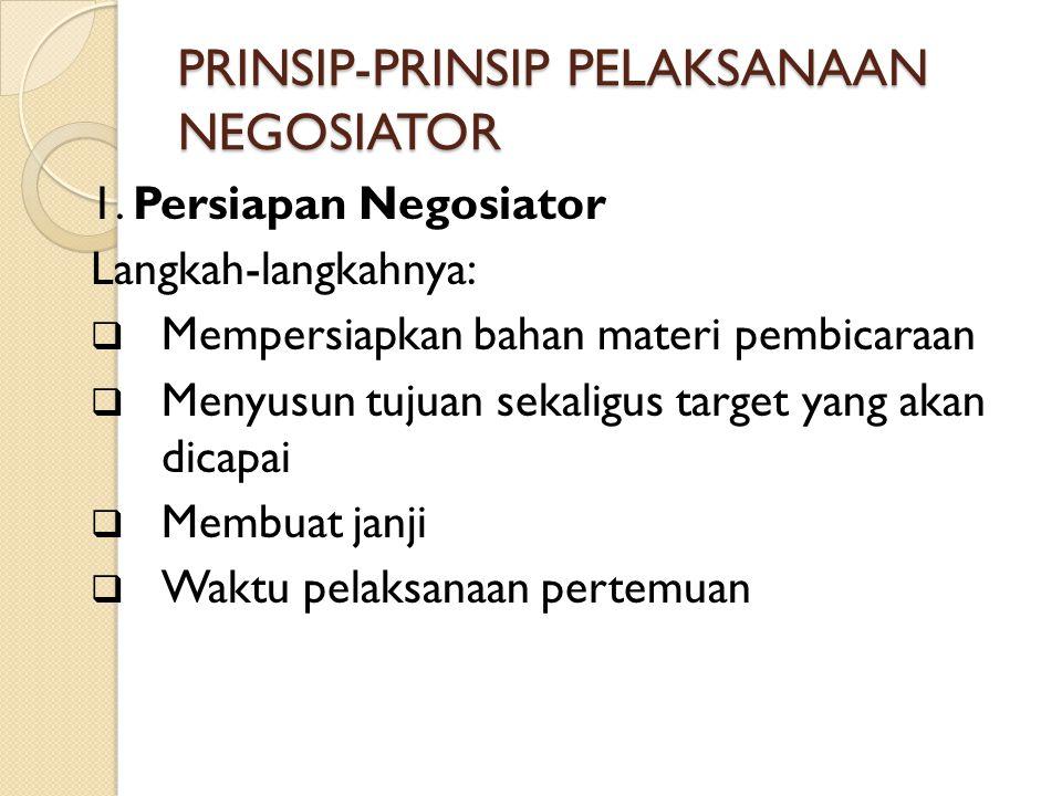 PRINSIP-PRINSIP PELAKSANAAN NEGOSIATOR