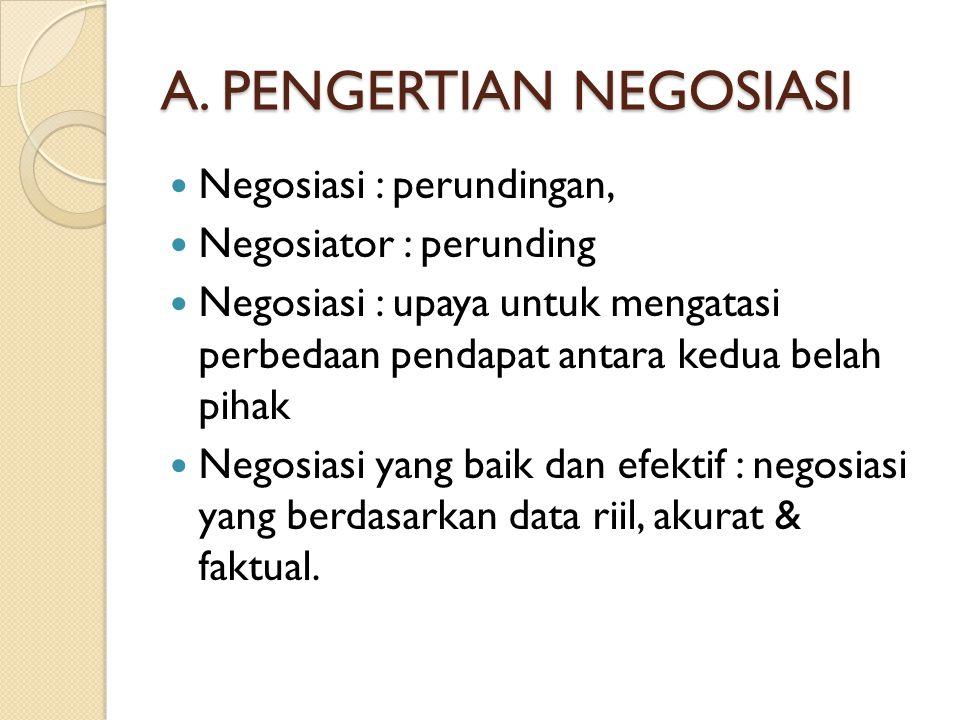 A. PENGERTIAN NEGOSIASI