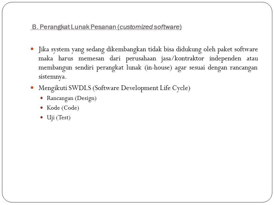 B. Perangkat Lunak Pesanan (customized software)