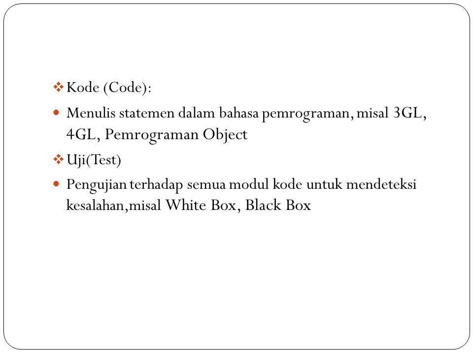 Kode (Code): Menulis statemen dalam bahasa pemrograman, misal 3GL, 4GL, Pemrograman Object. Uji(Test)