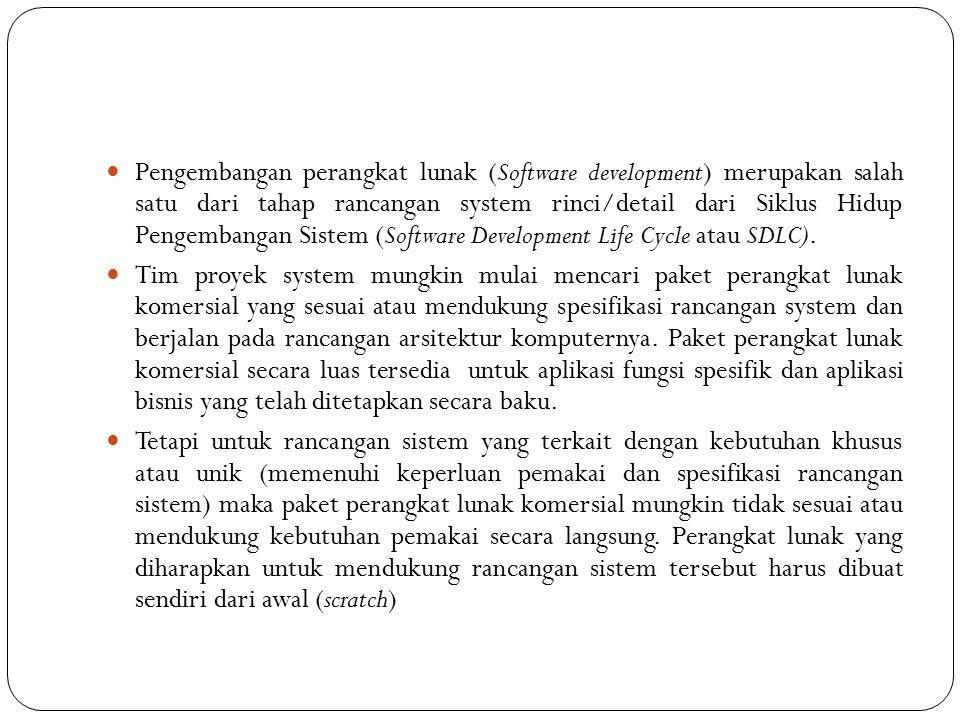 Pengembangan perangkat lunak (Software development) merupakan salah satu dari tahap rancangan system rinci/detail dari Siklus Hidup Pengembangan Sistem (Software Development Life Cycle atau SDLC).