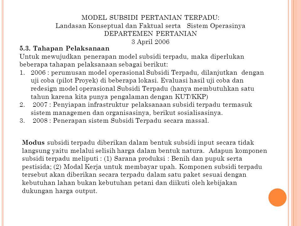 MODEL SUBSIDI PERTANIAN TERPADU: