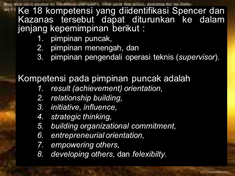 Kompetensi pada pimpinan puncak adalah