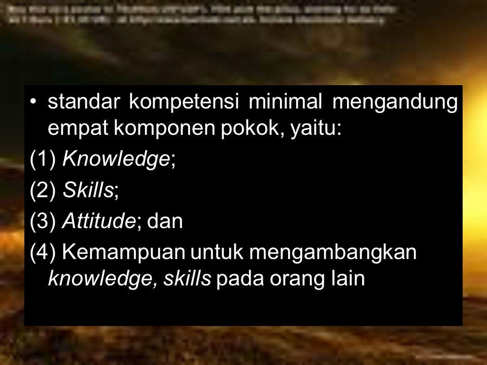 standar kompetensi minimal mengandung empat komponen pokok, yaitu: