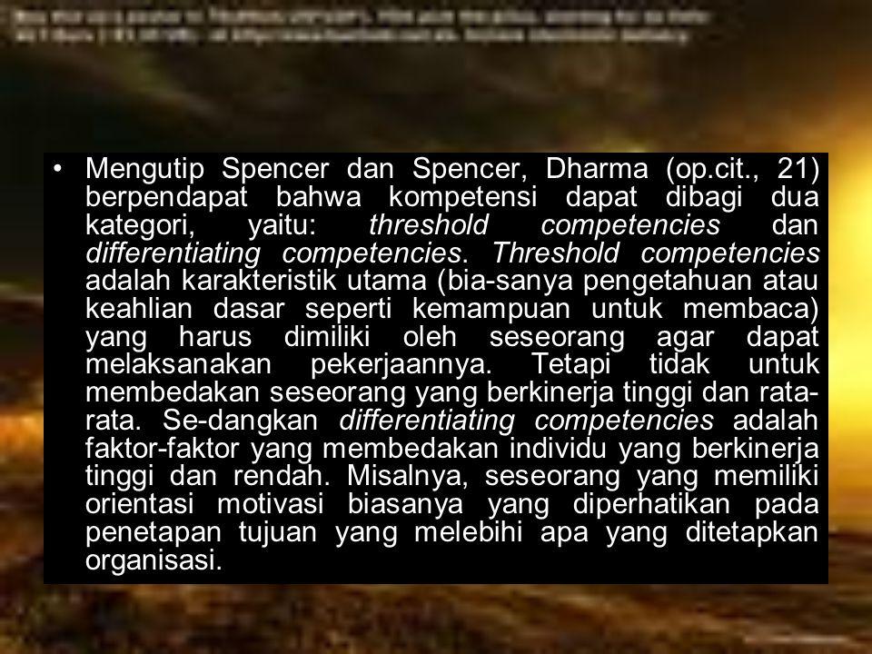 Mengutip Spencer dan Spencer, Dharma (op. cit
