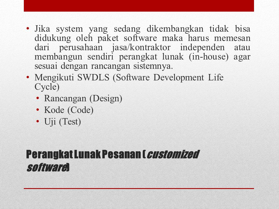 Perangkat Lunak Pesanan (customized software)