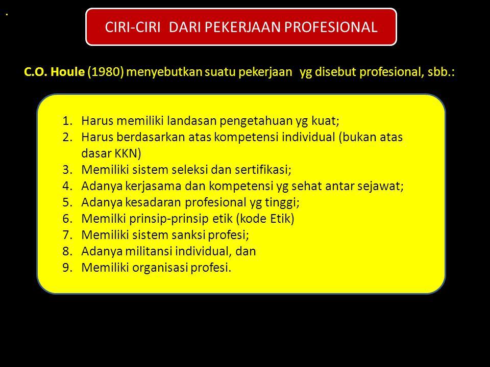 CIRI-CIRI DARI PEKERJAAN PROFESIONAL