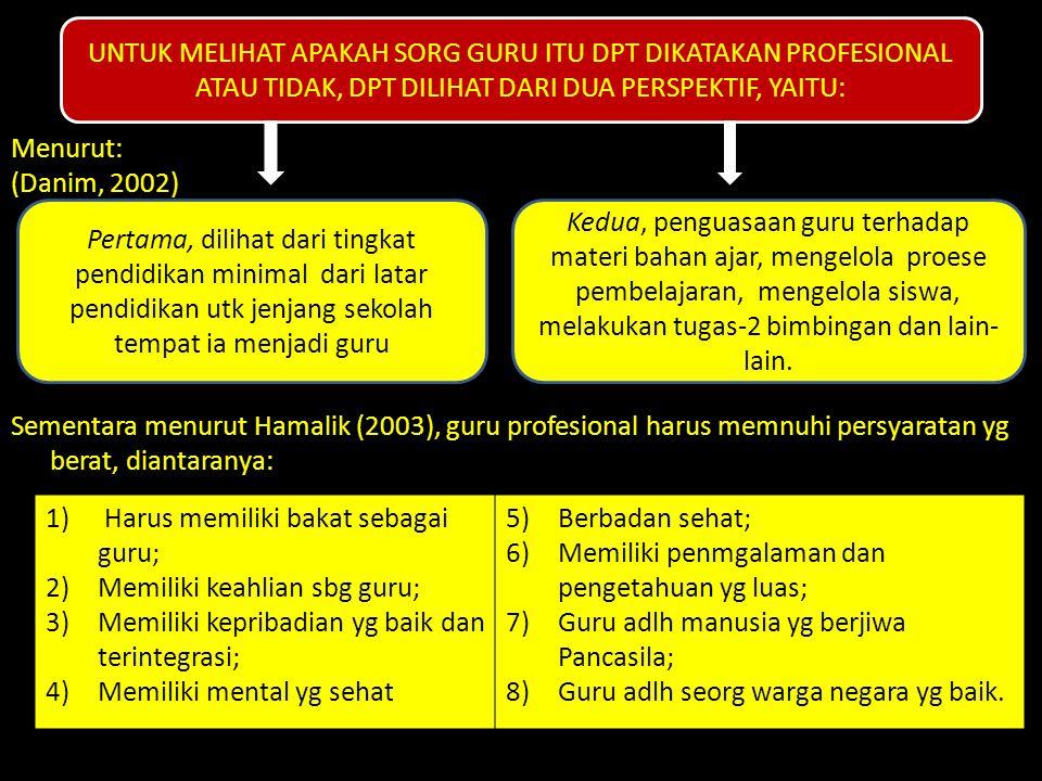Menurut: (Danim, 2002) Sementara menurut Hamalik (2003), guru profesional harus memnuhi persyaratan yg berat, diantaranya: