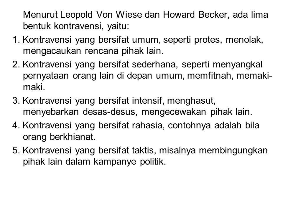 Menurut Leopold Von Wiese dan Howard Becker, ada lima bentuk kontravensi, yaitu: 1.