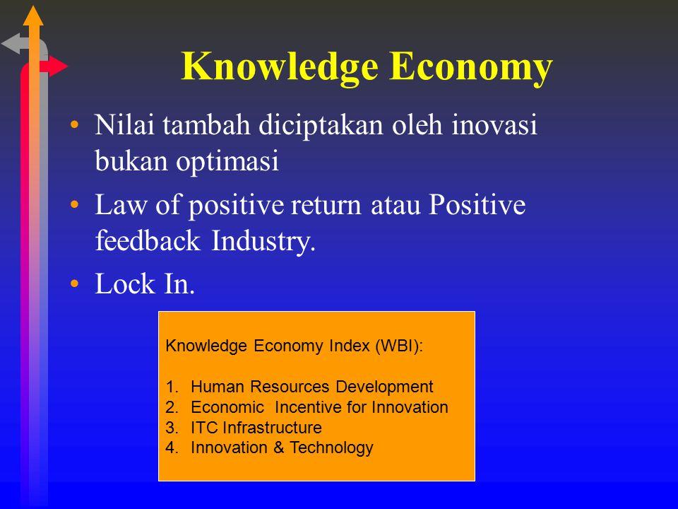 Knowledge Economy Nilai tambah diciptakan oleh inovasi bukan optimasi