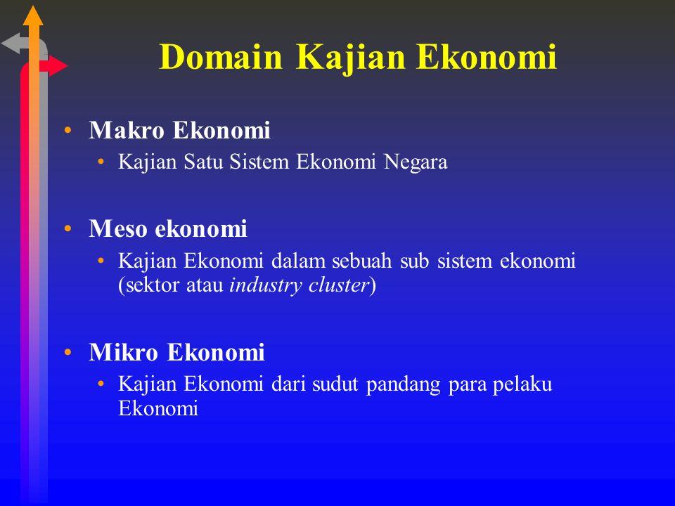 Domain Kajian Ekonomi Makro Ekonomi Meso ekonomi Mikro Ekonomi