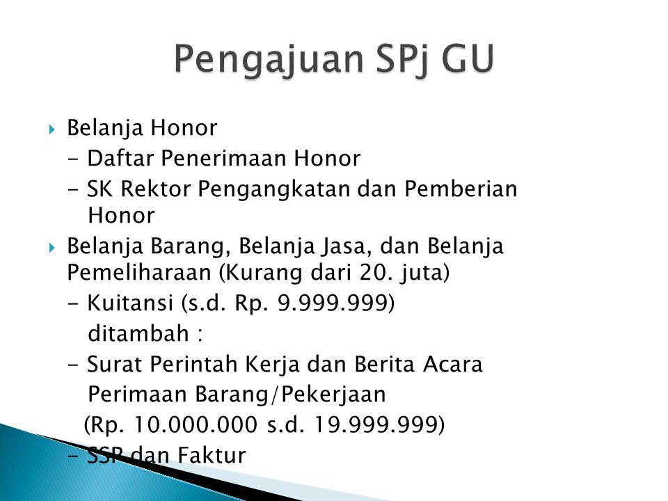 Pengajuan SPj GU Belanja Honor - Daftar Penerimaan Honor