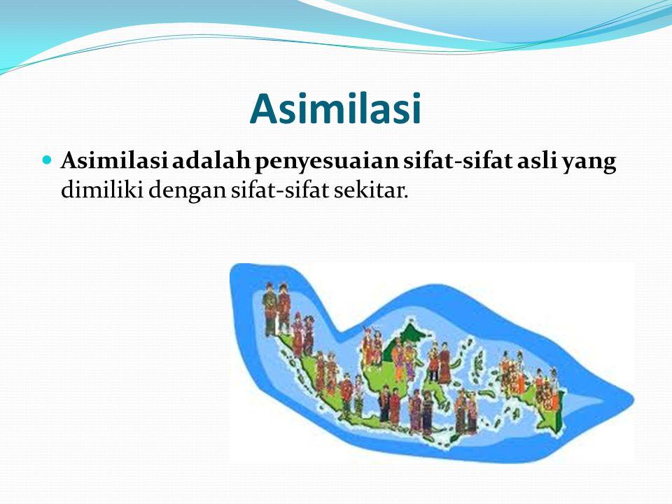 Asimilasi Asimilasi adalah penyesuaian sifat-sifat asli yang dimiliki dengan sifat-sifat sekitar.