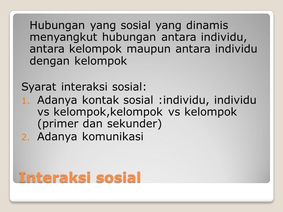 Hubungan yang sosial yang dinamis menyangkut hubungan antara individu, antara kelompok maupun antara individu dengan kelompok