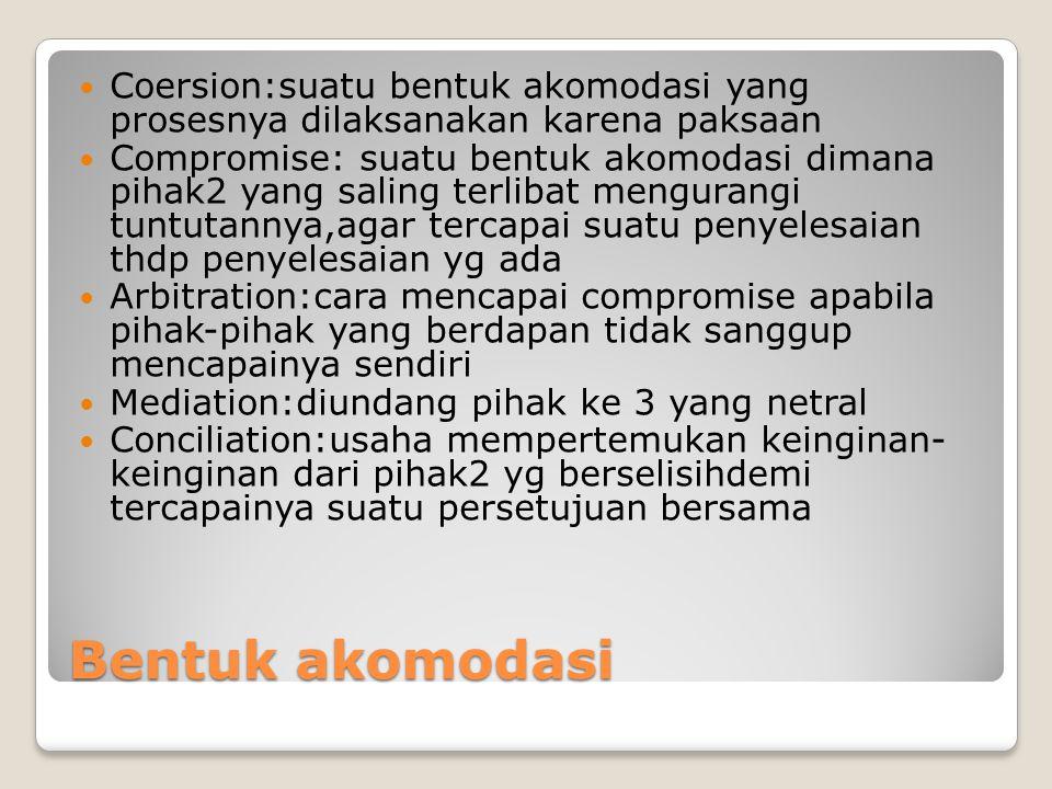 Coersion:suatu bentuk akomodasi yang prosesnya dilaksanakan karena paksaan