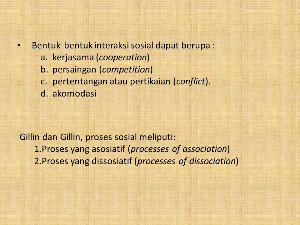 Bentuk-bentuk interaksi sosial dapat berupa :