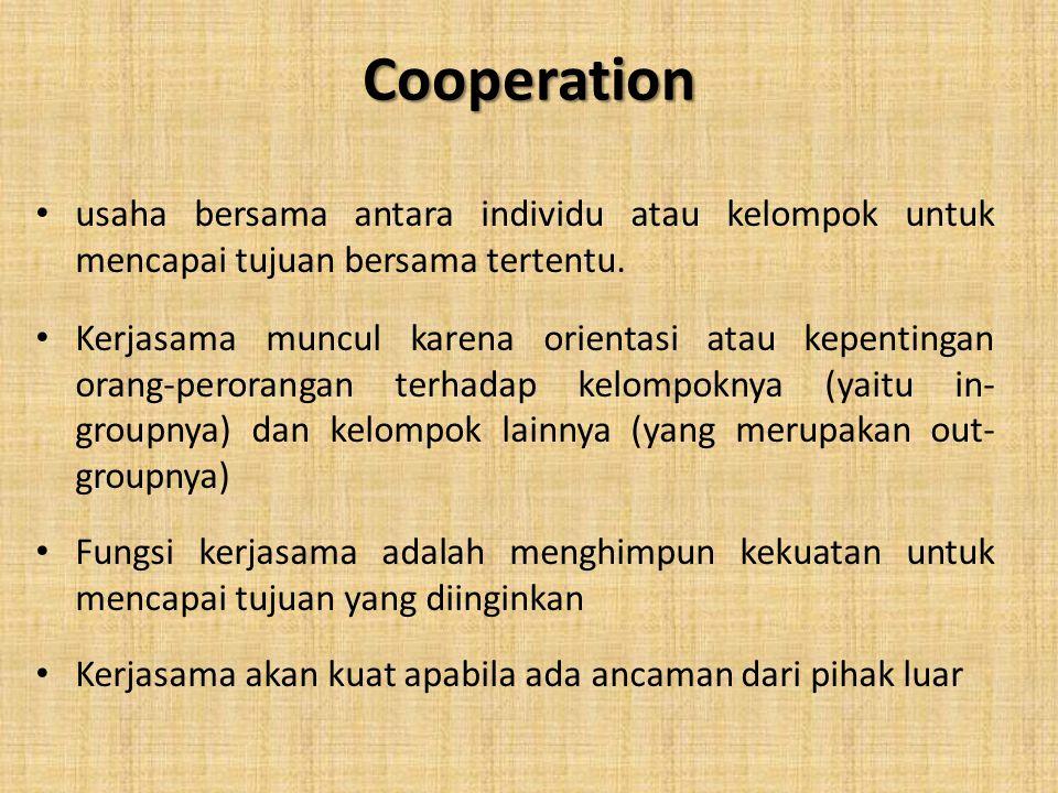 Cooperation usaha bersama antara individu atau kelompok untuk mencapai tujuan bersama tertentu.