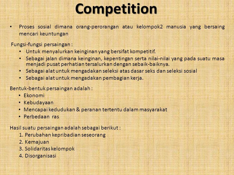 Competition Proses sosial dimana orang-perorangan atau kelompok2 manusia yang bersaing mencari keuntungan.