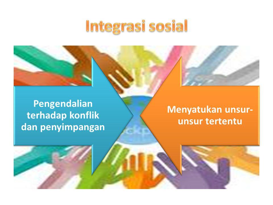 Integrasi sosial Pengendalian terhadap konflik dan penyimpangan