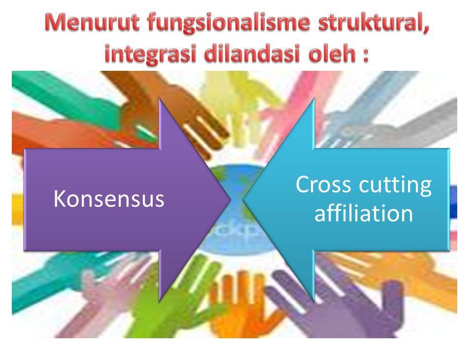 Menurut fungsionalisme struktural, integrasi dilandasi oleh :