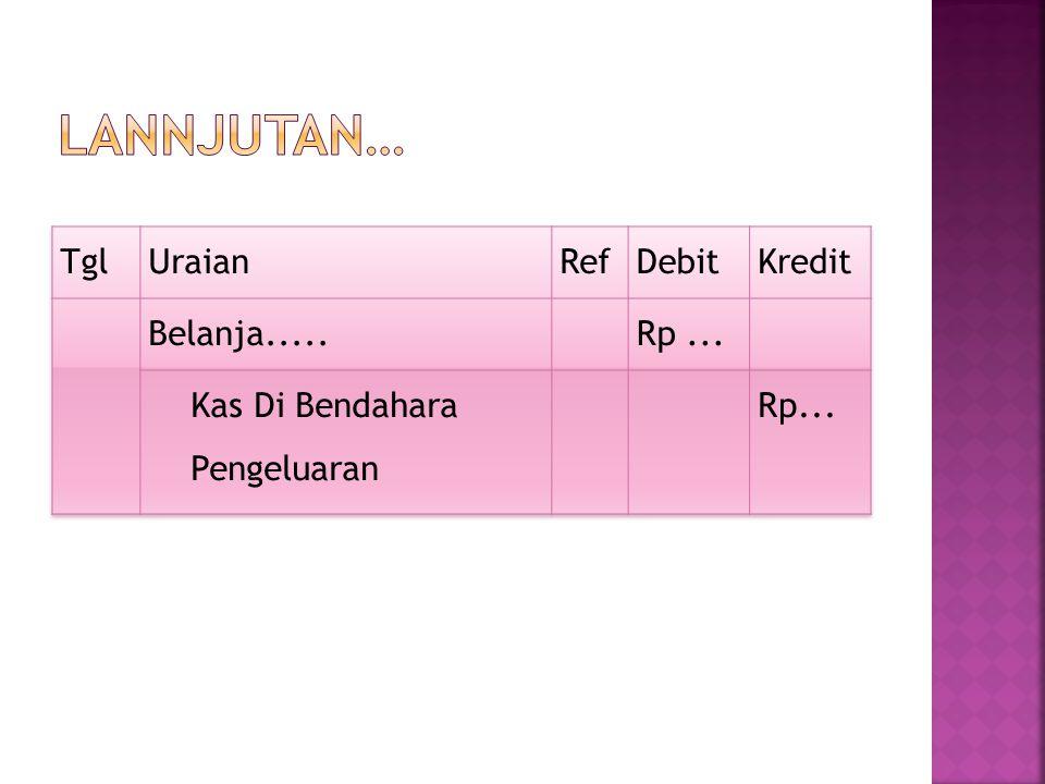 Lannjutan… Tgl Uraian Ref Debit Kredit Belanja..... Rp ...