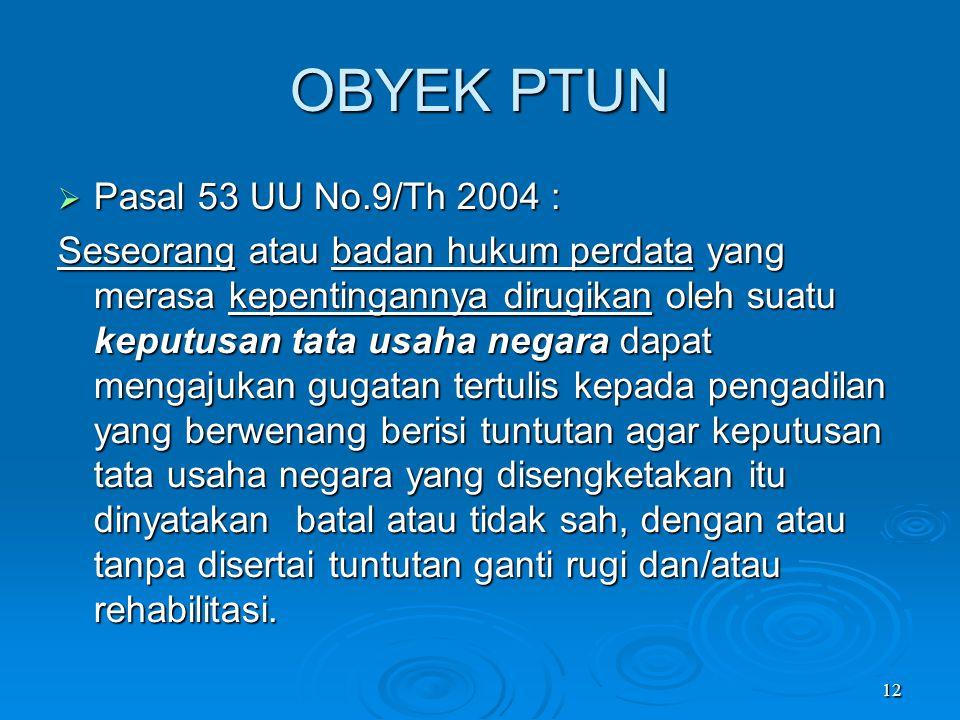 OBYEK PTUN Pasal 53 UU No.9/Th 2004 :