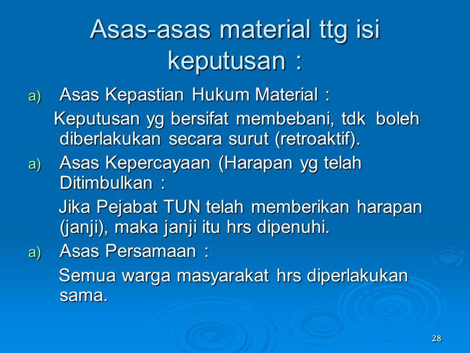 Asas-asas material ttg isi keputusan :