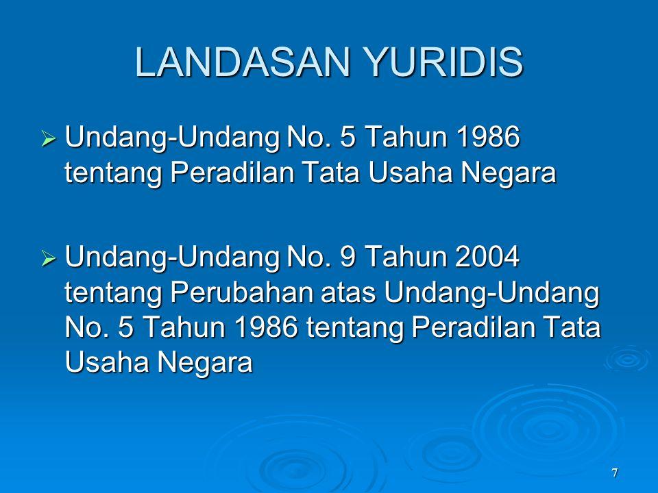 LANDASAN YURIDIS Undang-Undang No. 5 Tahun 1986 tentang Peradilan Tata Usaha Negara.