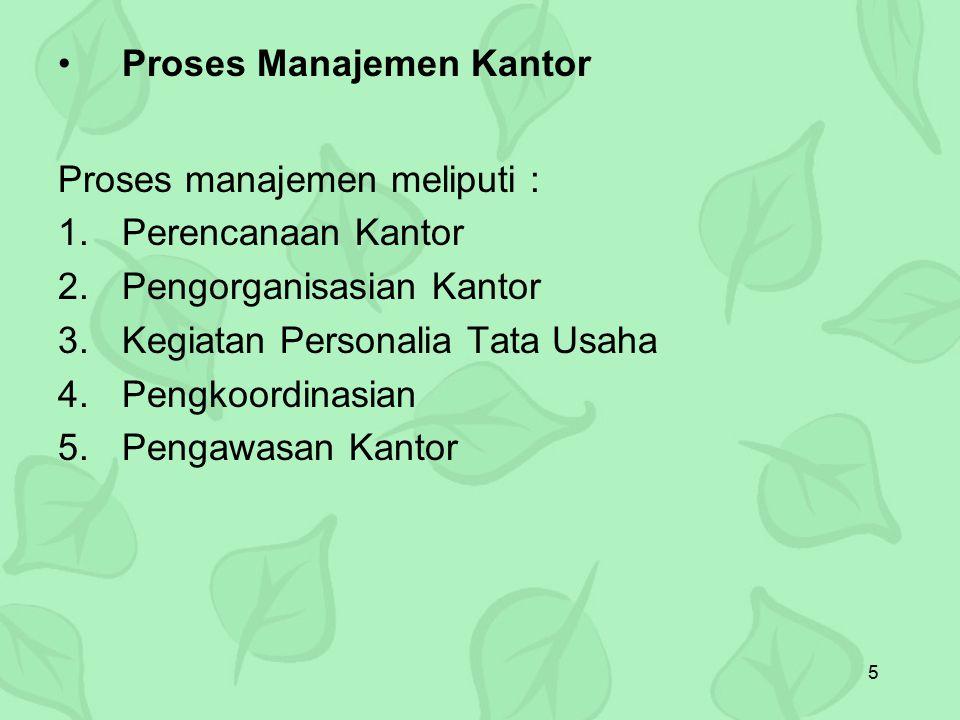 Proses Manajemen Kantor Proses manajemen meliputi : Perencanaan Kantor